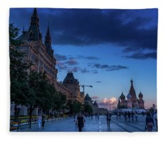 Red Square At Dusk Fleece Blanket