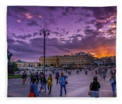Red Square At Sunset Fleece Blanket