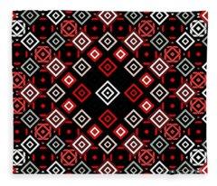 Red Squared Fleece Blanket