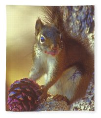 Red Squirrel With Pine Cone Fleece Blanket