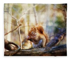Red Squirrel With Pinecone Fleece Blanket