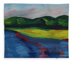 Red Streak Lake Fleece Blanket