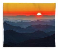 Red Sun In The End Of Mountain Range Fleece Blanket