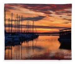 Red  Sunrise Fleece Blanket
