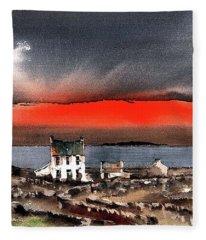 Red Sunset On Bungowla, Aran, Galway Fleece Blanket