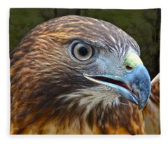 Red-tailed Hawk Portrait Fleece Blanket