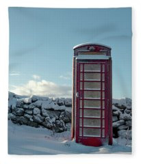 Red Telephone Box In The Snow IIi Fleece Blanket