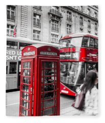 Red Telephone Box With Red Bus In London Fleece Blanket