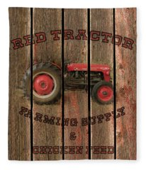 Red Tractor Farming Supply Fleece Blanket