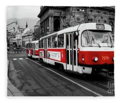 Red Tram Fleece Blanket