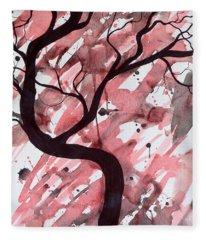 Red Tree Enchantment Fleece Blanket