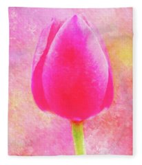 Red Tulip Dressed For Spring Fleece Blanket