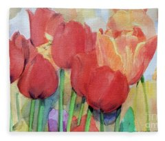 Watercolor Of Blooming Red Tulips In Spring Fleece Blanket