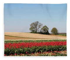 Red Tulips Landscape Fleece Blanket
