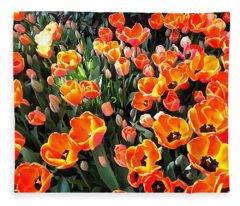 Red Tulips Of Istanbul Fleece Blanket