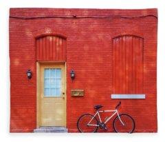 Red Wall White Bike Fleece Blanket