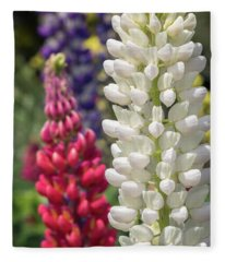 Red, White, And Blue Lupines Fleece Blanket