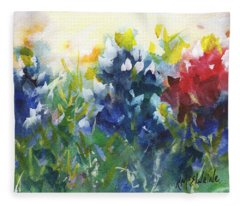 Red White And Bluebonnets Watercolor Painting By Kmcelwaine Fleece Blanket