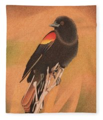 Red-winged Blackbird 3 Fleece Blanket