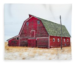 Red Winter Barn Fleece Blanket