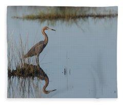 Reddish Egret And Reflection In The Morning Light Fleece Blanket