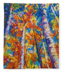 Redemption - Fall Birch And Aspen Fleece Blanket