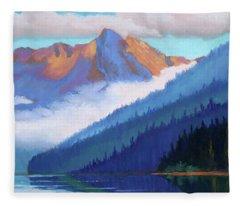Redfish Lake - Low Clouds Fleece Blanket
