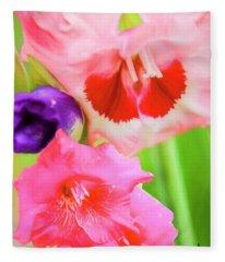 Red,pink And Purple Gladiolas. Fleece Blanket
