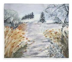 Reeds On The Riverbank No.2 Fleece Blanket