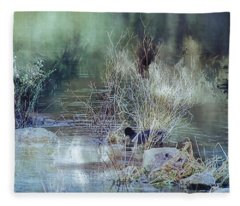 Reflecting On A Misty Morning Fleece Blanket
