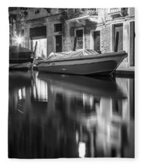 Reflecting On The Canal In Venice  Fleece Blanket
