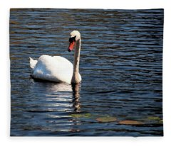 Reflecting Swan Fleece Blanket