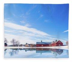 Reflection Of A Barn In Winter Fleece Blanket