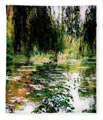 Reflection On Oscar - Claude Monet's Garden Pond Fleece Blanket