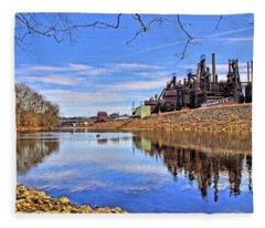Reflection On The Lehigh - Bethlehem Pa Fleece Blanket