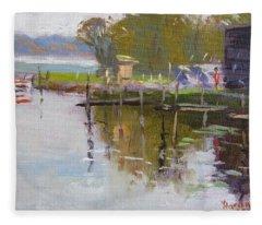 Reflections At Ashville Bay Marina Fleece Blanket