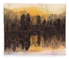 Reflections At Sunset On Bitely Lake Fleece Blanket