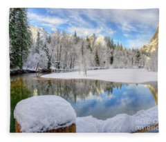Reflections In The Merced River Yosemite National Park Fleece Blanket