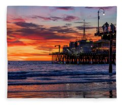 Reflections Of The Pier Fleece Blanket