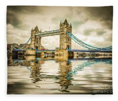 Reflections On Tower Bridge Fleece Blanket