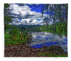 Reflective Lake Fleece Blanket