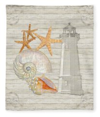 Refreshing Shores - Lighthouse Starfish Nautilus N Conch Over Driftwood Background Fleece Blanket