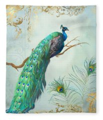 Regal Peacock 1 On Tree Branch W Feathers Gold Leaf Fleece Blanket
