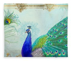 Regal Peacock 2 W Feather N Gold Leaf French Style Fleece Blanket