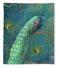 Regal Peacock 3 Midnight Fleece Blanket