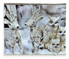 Reindeer And Owls Holiday Celebration 2 Fleece Blanket