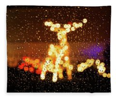 Reindeer Bokeh Fleece Blanket