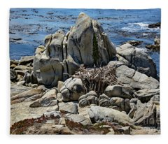 Remains Of Ancient Rocks At Carmel Point Fleece Blanket