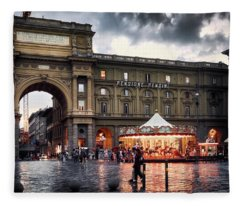 Republic Square In The City Of Florence Fleece Blanket