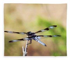 Rest Area, Dragonfly On A Branch Fleece Blanket